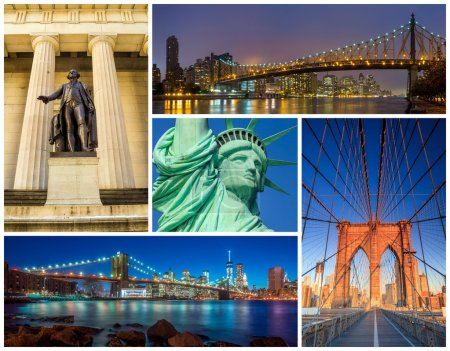 Photo for New York City famous landmarks picture collage - USA - Royalty Free Image