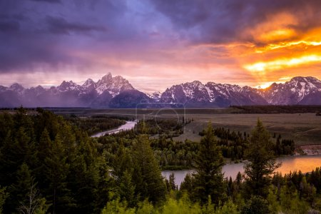 Photo for Grand Teton National Park at Snake River overlook sunset - Royalty Free Image