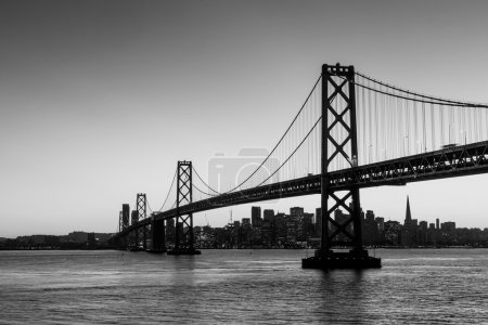Photo for San Francisco skyline and Bay Bridge at sunset in black and white - Royalty Free Image