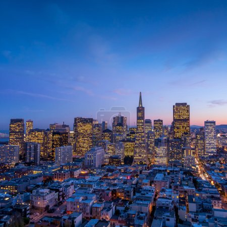 downtown San Francisco at sunset.