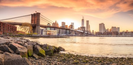 Photo for Beautiful shot of Brooklyn Bridge at sunset - Royalty Free Image