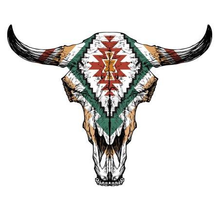 Illustration pour Crâne d'auroche taureau avec cornes sur fond blanc. avec ornement traditionnel sur la tête - image libre de droit