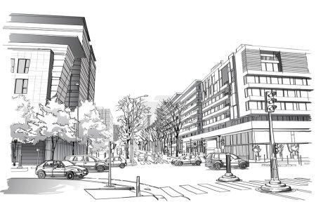 Illustration of street in Paris.