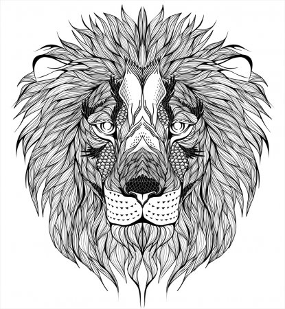 Illustration for Vector lion head tattoo - Royalty Free Image