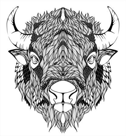 Illustration pour Mascotte vectorielle de Bison - image libre de droit