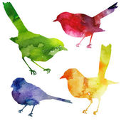 Birds Silhouette watercolor painting