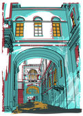 Street in St Petersburg illustration
