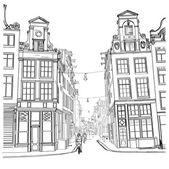 Amsterdam street Watercolor style
