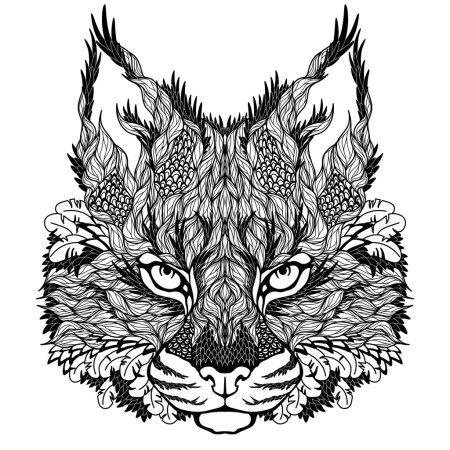 Illustration pour Tatouage de tête de lynx. psychédélique - image libre de droit