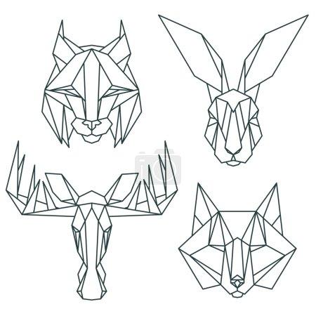 Illustration pour Ensemble vectoriel d'icônes animales. Style triangulaire abstrait - image libre de droit