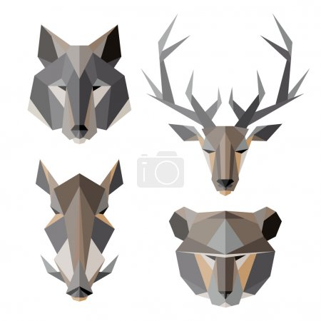 Illustration pour Ensemble d'icônes animales. Style triangulaire vectoriel abstrait - image libre de droit