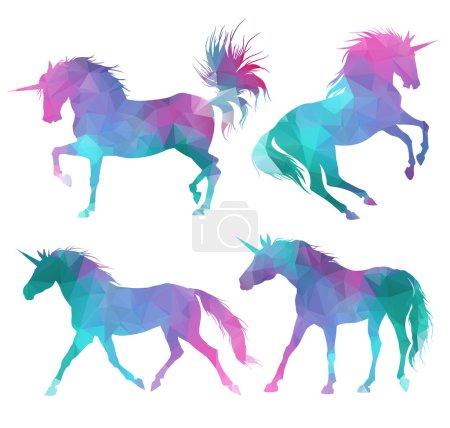 unicorns silhouette set