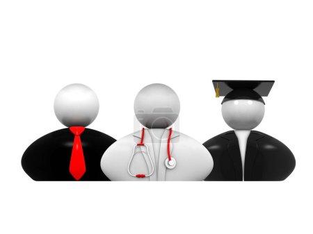 Photo pour 3d personnes - hommes, personnes ayant des professions différentes. Médecin, homme d'affaires, éducateur supérieur - image libre de droit