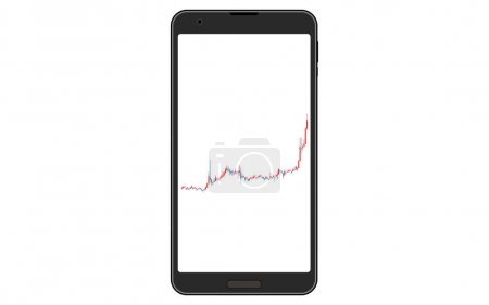 Candlestick charts used for stocks, FX and virtual currencies viewed on the vertical screen of smartphones, rising