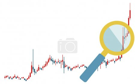 With candlestick chart, rise, magnifying glass used for stocks, FX and virtual currencies