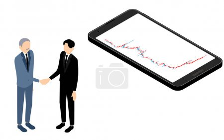Isometric, a businessman shaking hands with a smartphone screen showing a rising chart of stocks