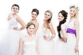 šest nevěsty izolovaných na bílém