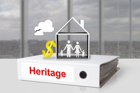 Photo pour Bureau blanc liant patrimoine maison familiale or dollar symbole - image libre de droit