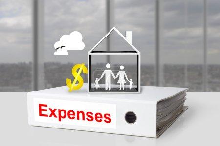 Photo pour Bureau blanc liant frais maison familiale coût de la vie dollar symbole - image libre de droit