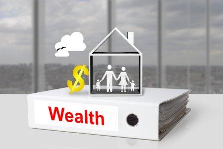 Photo pour Symbole de dollar blanc bureau liant richesse maison familiale - image libre de droit
