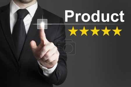 Businessman pushing button product rating stars