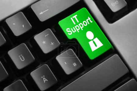Photo pour Dark grey keyboard green button it support symbol - image libre de droit