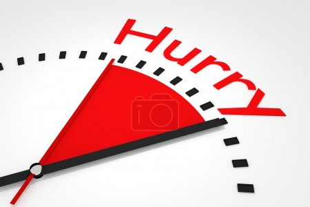 clock with red seconds hand area hurry illustration