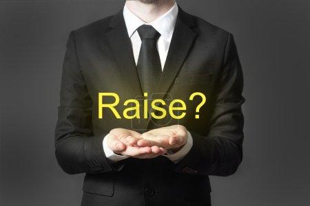 businessman in office begging gesture raise