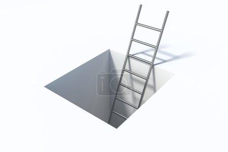 Leiter im quadratischen Loch über weißer Oberfläche Hilfe Illustration