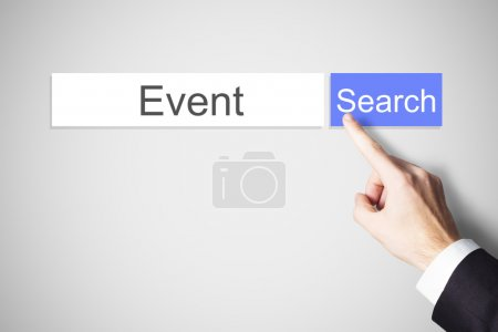 Finger pushing blue web search button find event