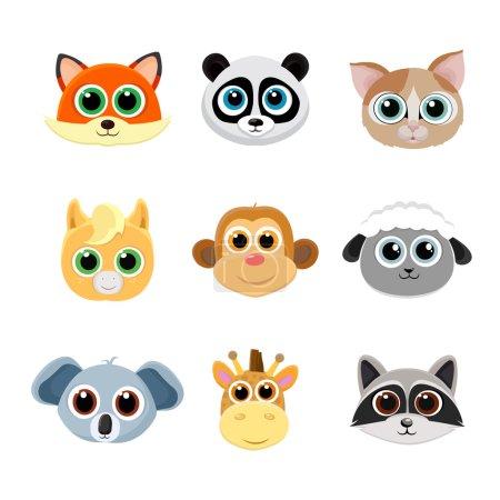 Collection of cute animal faces including fox, panda, cat, pony, monkey, giraffe, koala, sheep and raccoon.