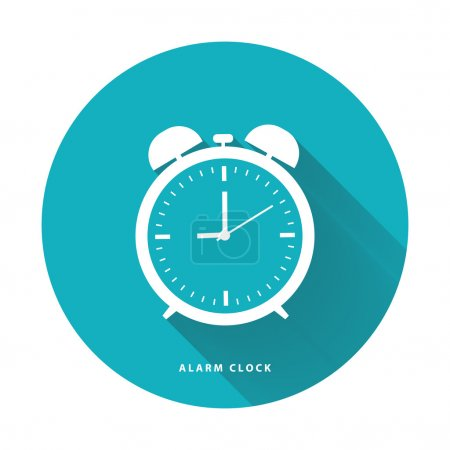 Illustration for Alarm clock flat vector illustration on circle blue background. - Royalty Free Image