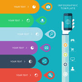 Info graphic template with hand holding phones for marketing plan sales chart illustration work flow layout diagram number options web design presentation on blue background