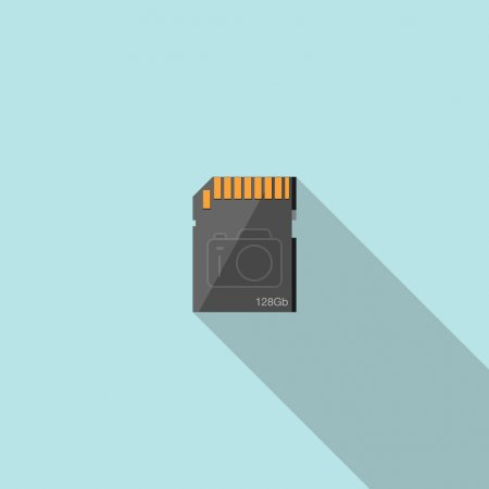 Illustration for Memory card flat icon with long shadow vector illustration. - Royalty Free Image
