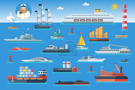 Illustration for Big set of sea ships. Water carriage and maritime transport in flat design style. Side view vector illustration. - Royalty Free Image