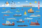 Big set of sea ships Water carriage and maritime transport in flat design style