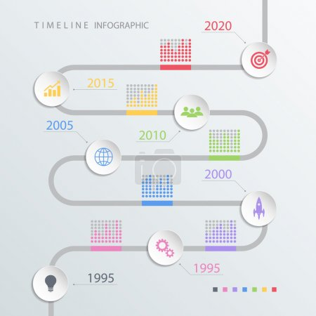 Road timeline infographic design template with color icons. Vector illustration.