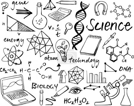 Photo for Science icons doodle  set  background - Royalty Free Image