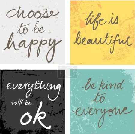 4 hand written inspirational motivational words