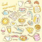 Breakfast food and icons doodle set background