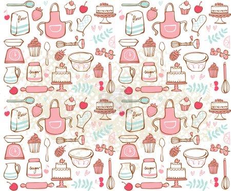 Illustration pour Cuisson des icônes de cuisine fond grunge sans couture - image libre de droit