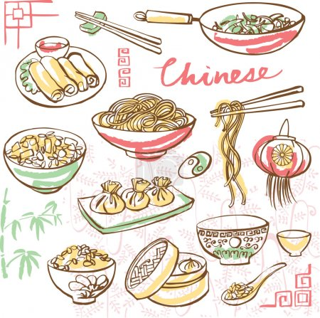 Illustration for Chinese food icons  in doodle style - Royalty Free Image