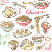 Chinese food icons  in doodle style