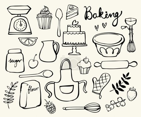 Illustration for Baking kitchen icons background in doodle style - Royalty Free Image