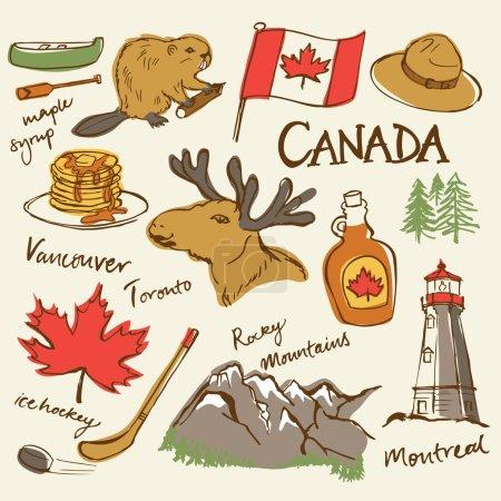 Illustration pour Icônes du Canada dans le style doodle - image libre de droit