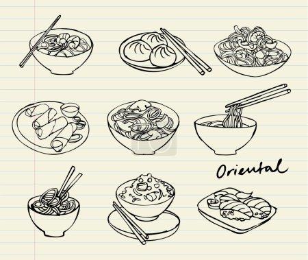 Asian food doodle set