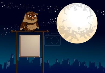 Photo pour Illustration d'un signe blanc de hibou de nuit sur fond de nature - image libre de droit