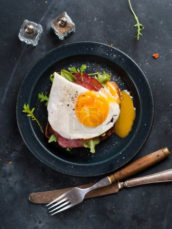 Photo for Fried egg and bacon on wholemeal bread, selective focus - Royalty Free Image