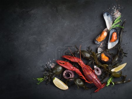 Photo for Food background with seafood, selective focus - Royalty Free Image