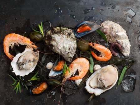 Photo for Delicious fresh seafood on dark vintage background, selective focus - Royalty Free Image